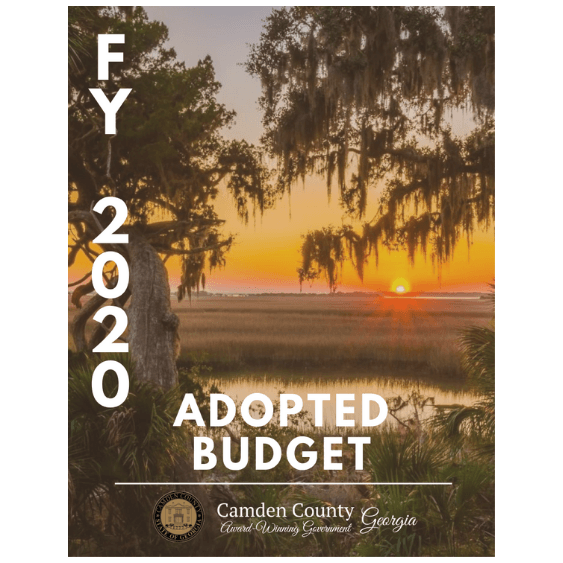 "Image of sunset over water with ""FY 2020 Adopted Budget"" Opens in new window"